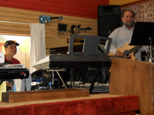 Pastor Joseph and Ian practice for Sunday service.