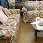 This sweet and comfortable floral set, couch and loveseat is $195.